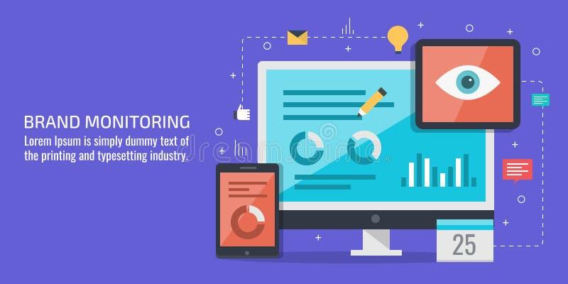 Oznakuje strategię marketingową, dane online gatunek analiza, monitorowanie, statystyki, ewidencyjny pojęcie Płaski projekta wekt ilustracji