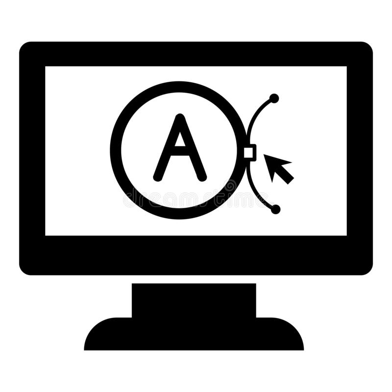 Oznakuje wektorowego komputeru projekta ikonę, prosty styl ilustracja wektor
