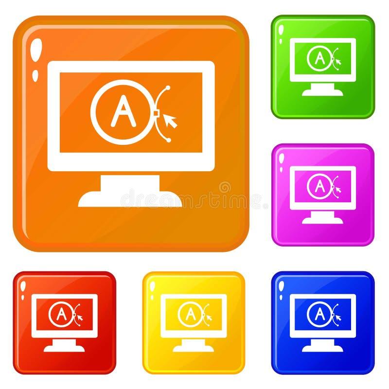 Oznakuje wektorowego komputeru projekta ikona ustawiającego wektorowego kolor royalty ilustracja