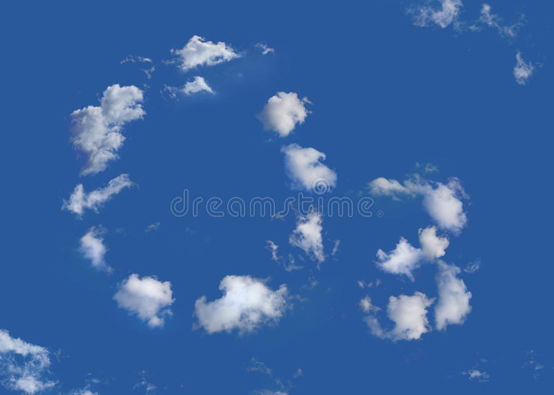 Ozone. The chemical formula for an ozone molecule , O3 , written in clouds at a blue sky. The sky is gradient free royalty free stock photo