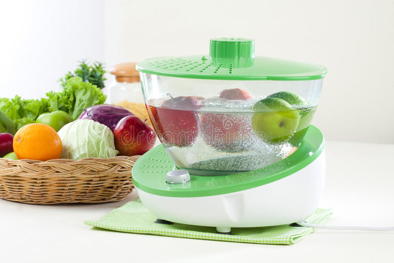 Ozone cleaner machine. Fruit and vegetable ozone cleaner machine it's easy way how to clean fruits and vegetable royalty free stock photo