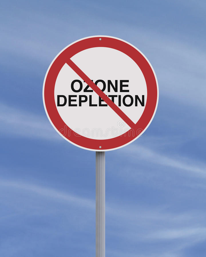 Ozone Depletion. An environmental road sign against ozone depletion royalty free stock photography