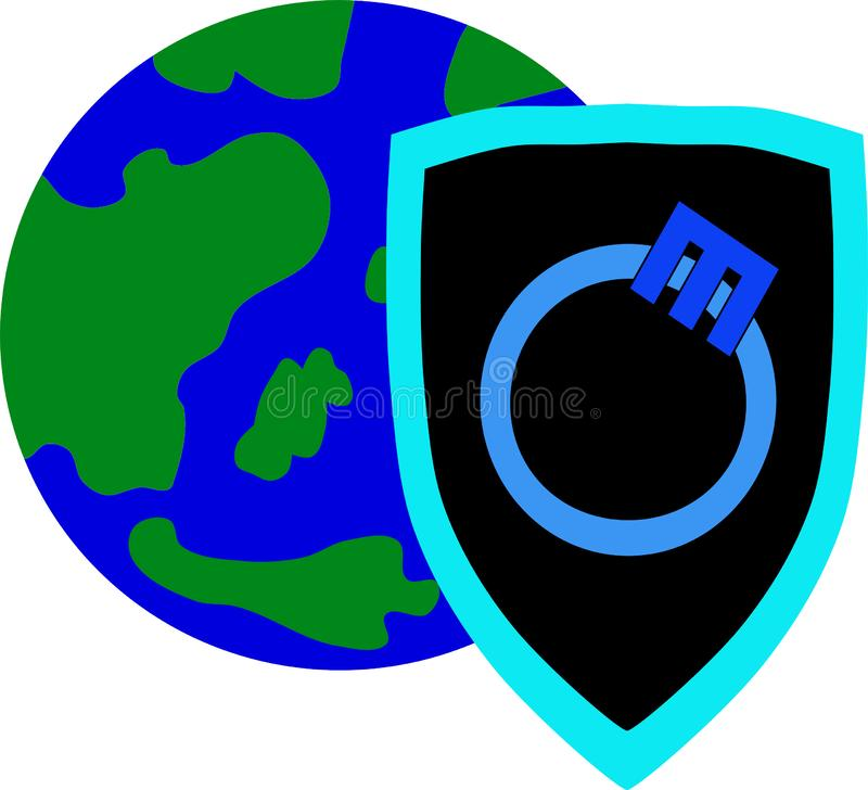 Earth with ozone shield. Ozone is earth`s important shield, it protects everything on earth stock illustration