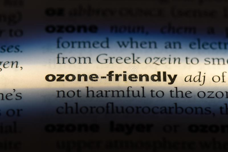 Ozone friendly. Word in a dictionary.  concept royalty free stock image