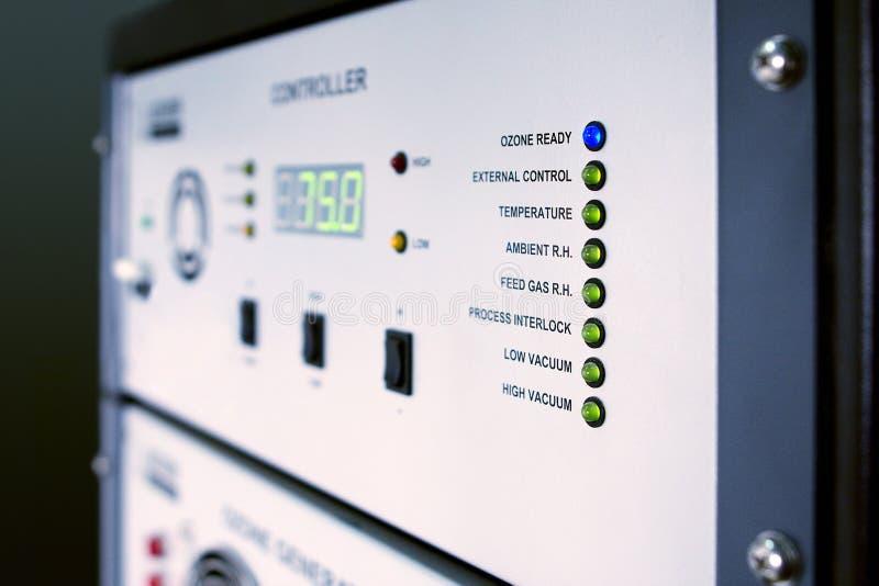 Ozone generator control. Control panel of ozone generator for water treatment stock photo