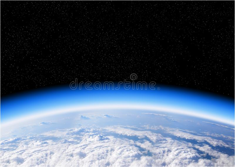 Ozone layer from space view of planet Earth royalty free stock photo