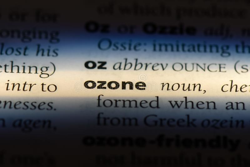 Ozone. Word in a dictionary.  concept stock photos