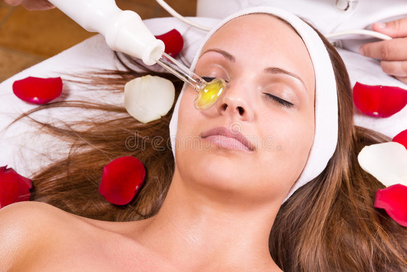 Ozone treatment. On face at the beautician stock photos