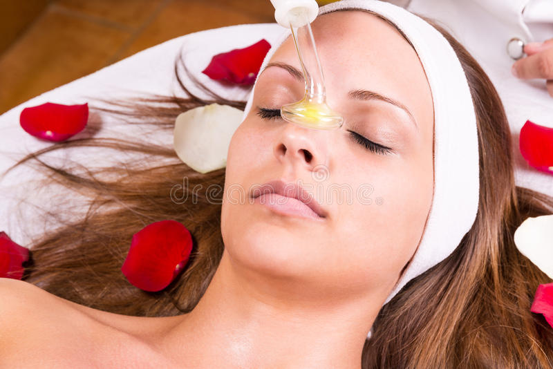 Ozone treatment. On face at the beautician royalty free stock photos