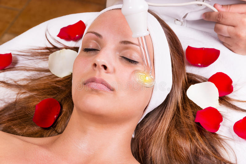 Ozone treatment. On face at the beautician stock photo
