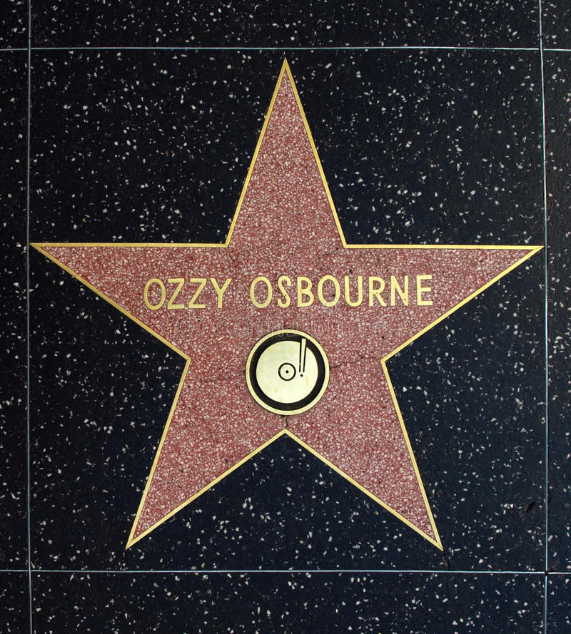 Ozzy Osbourne Star. The star Ozzy Osbourne on the walk of fame on Hollywood blvd., Hollywood, Los Angeles stock photo