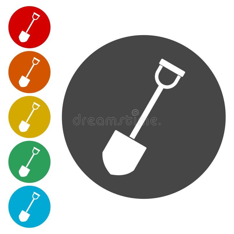 Pá - ícones do vetor ajustados ilustração do vetor