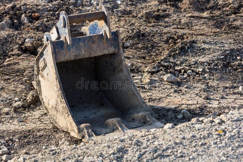 Pá da máquina escavadora foto de stock