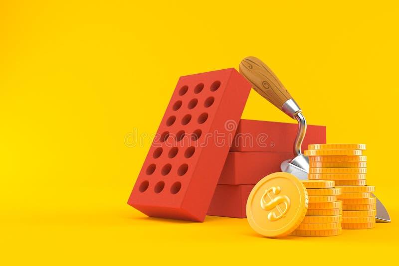 Pá de pedreiro e tijolos com a pilha de moedas ilustração do vetor