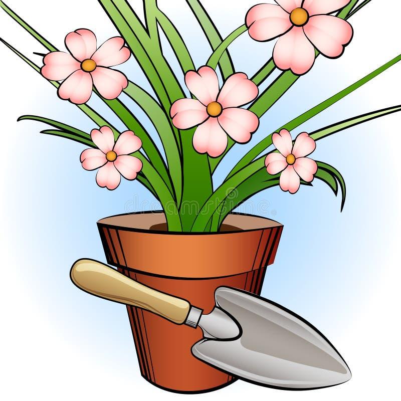 Pá do jardim e planta da janela ilustração royalty free
