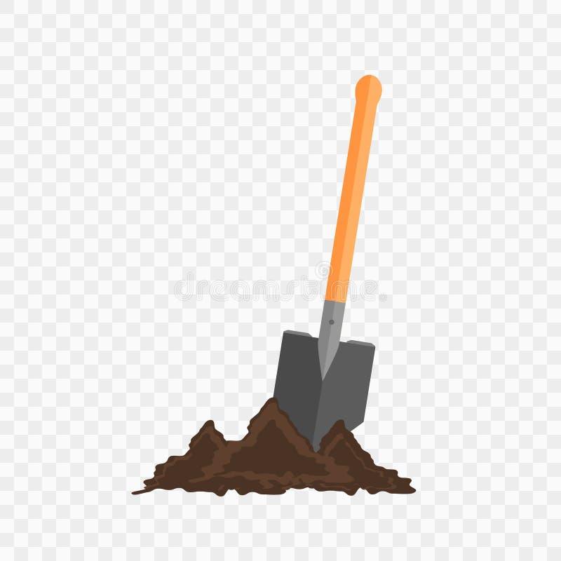 Pá do Sapper na terra Ferramenta de jardinagem no fundo verificado ilustração stock