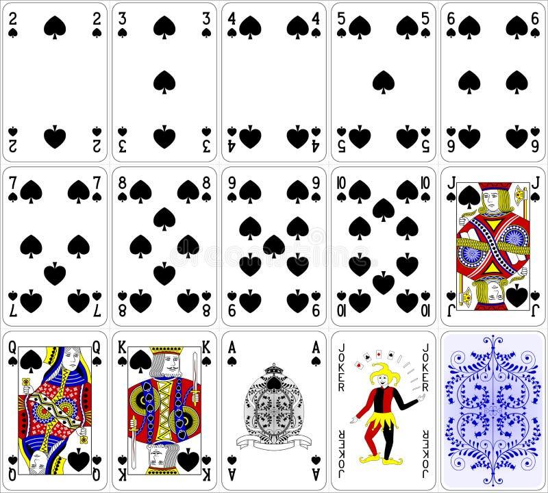 A pá dos cartões do pôquer ajustou um projeto clássico de quatro cores ilustração royalty free