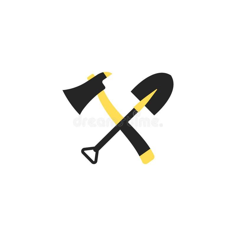 Pá e machado de fogo Único ícone do equipamento do fogo da silhueta Ilustração do vetor Estilo liso ilustração stock