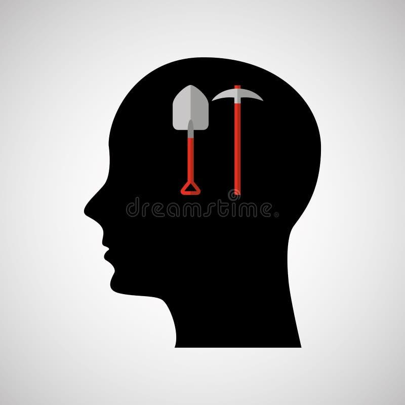 pá e picareta principais do ícone do preto da silhueta ilustração do vetor