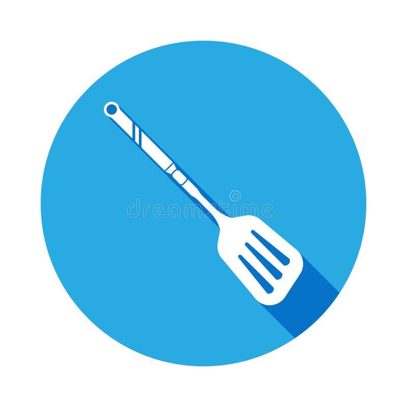 pá para fritar o ícone das batatas com sombra longa Elemento do ícone do kitchenware Sinais, ícone da coleção dos símbolos do esb ilustração royalty free
