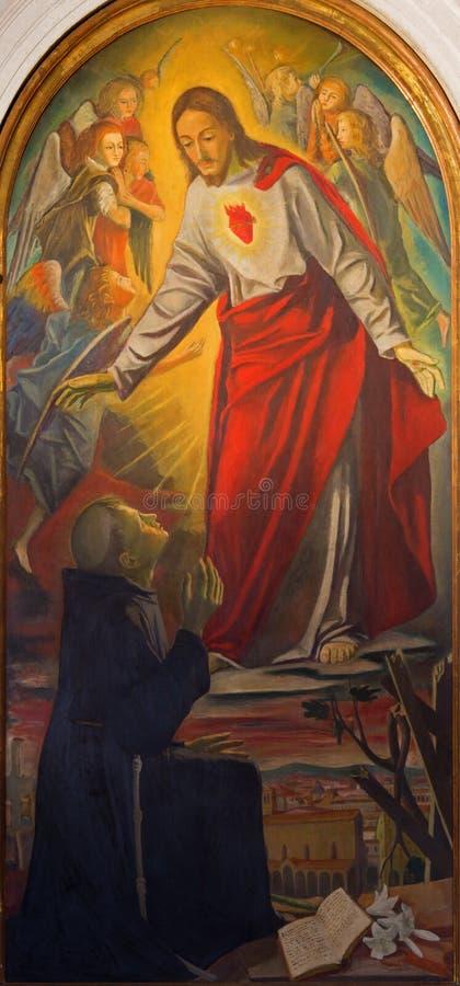 Pádua - o coração de Jesus e de St Anthony de Pádua por Antonio Ferro de 19 centavo imagens de stock