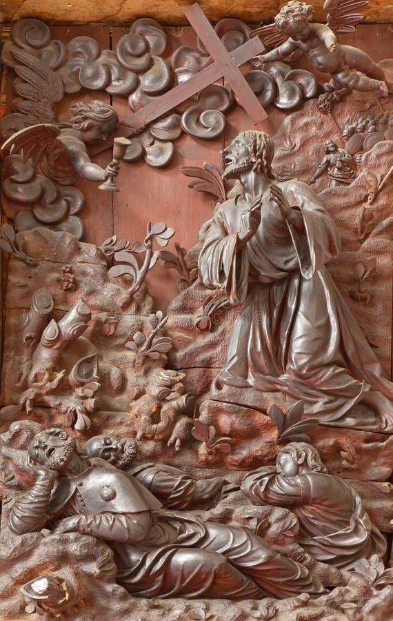Pádua - a oração cinzelada de Jesus do relevo no jardim de Gethsemane a sacristia da igreja Chiesa di San Gaetano imagem de stock royalty free