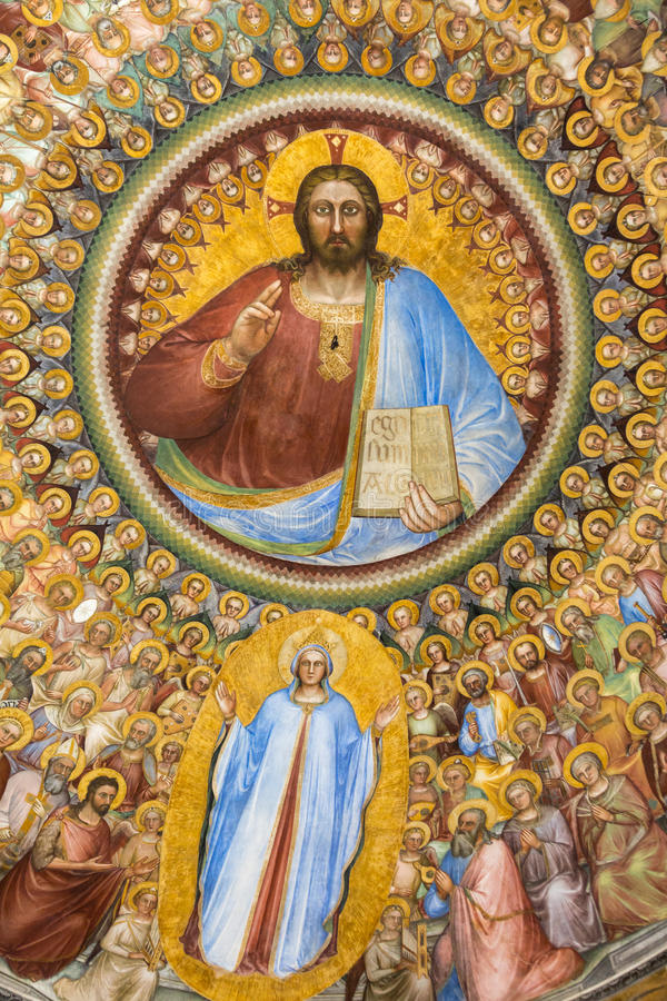 Pádua - os fresco no Baptistery do domo ou da catedral de Santa Maria Assunta por Giusto de Menabuoi fotos de stock