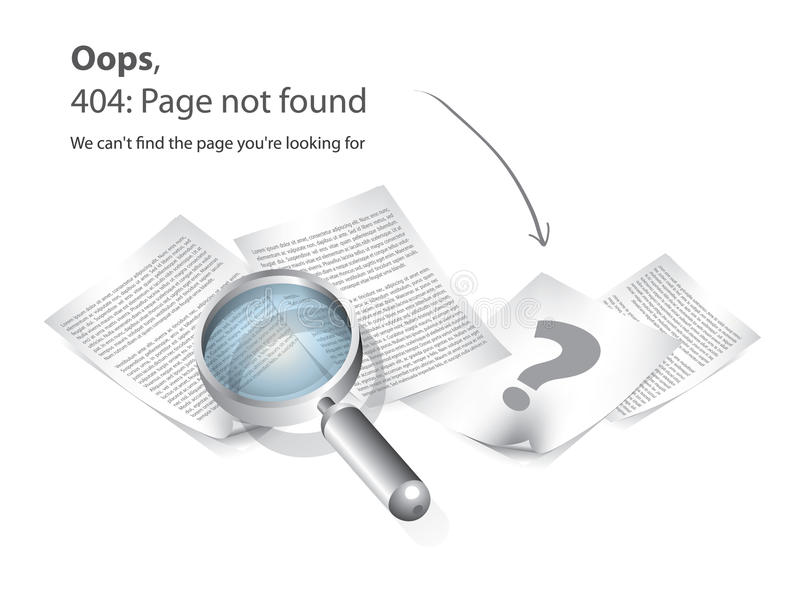 Página 404 não encontrada   ilustração royalty free