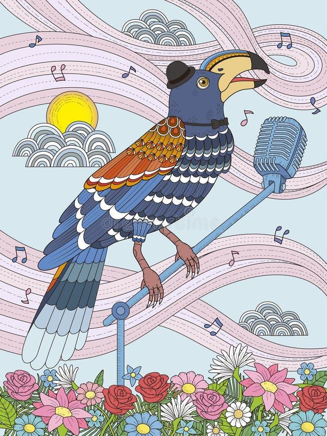 Página adulta da coloração do tucano ilustração royalty free