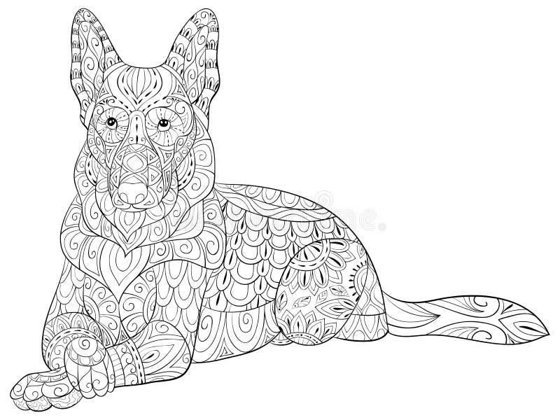 Página adulta da coloração um dogal isolado bonito para relaxar Ilustração do estilo da arte do zen ilustração royalty free