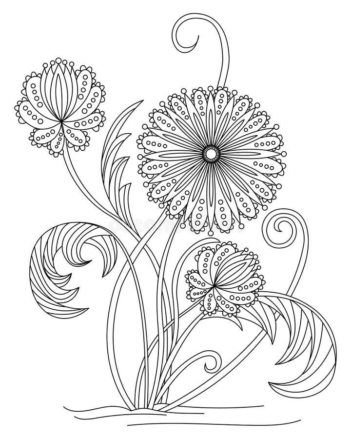 Página adulta del colorante de la flor stock de ilustración