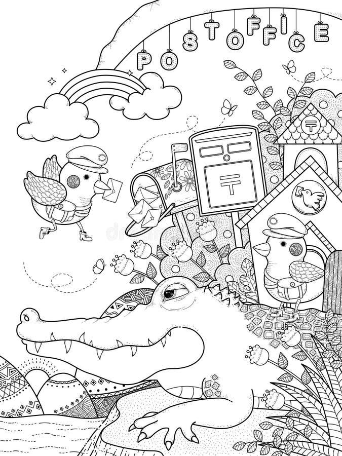 Página adulta del colorante del cocodrilo lindo libre illustration