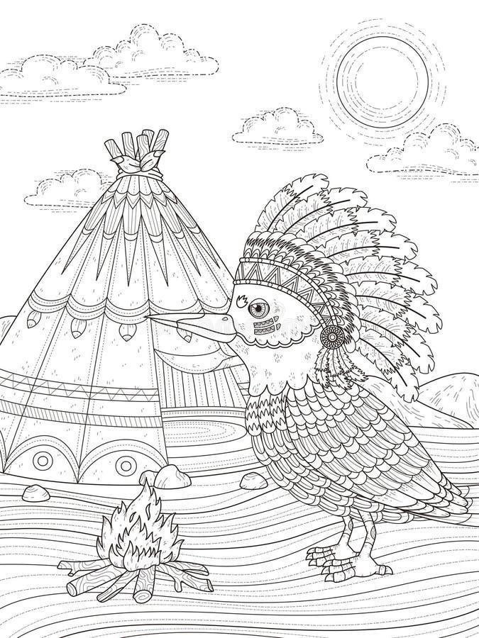 Página adulta del colorante del pájaro indio ilustración del vector