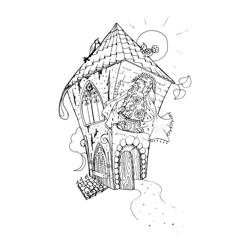 Página adulta del libro de colorear Mono ejemplo de la tinta del negro del color, arte del vector Casa de hadas con la puerta abi ilustración del vector