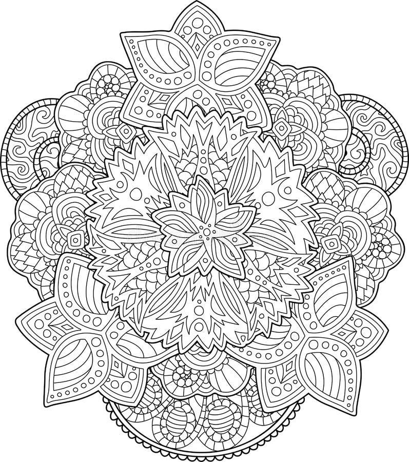 Pagina Adulta Do Livro Para Colorir Com Flores Bonitas Ilustracao