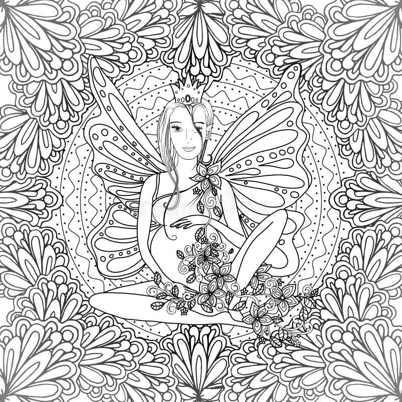 Página adulta do livro para colorir com a senhora grávida feericamente ilustração do vetor
