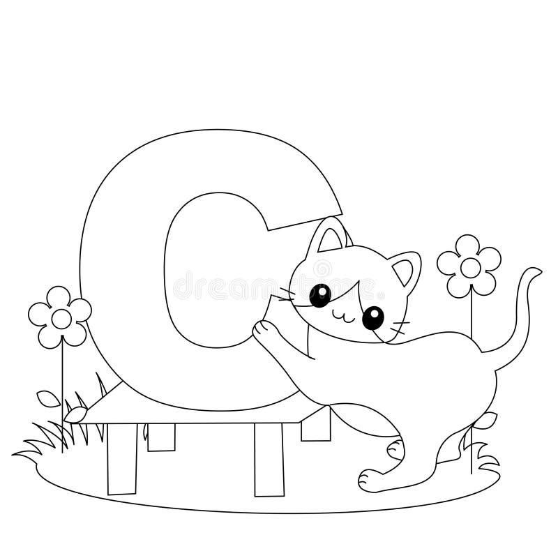 Página animal da coloração do alfabeto C ilustração stock