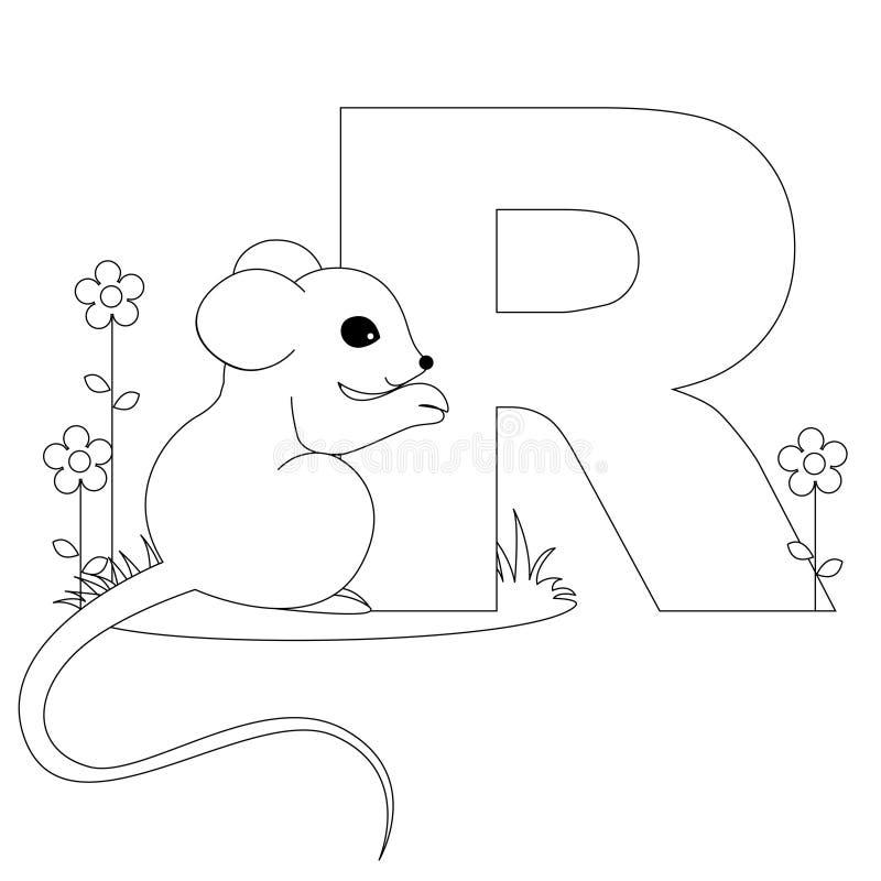 Página animal da coloração do alfabeto R