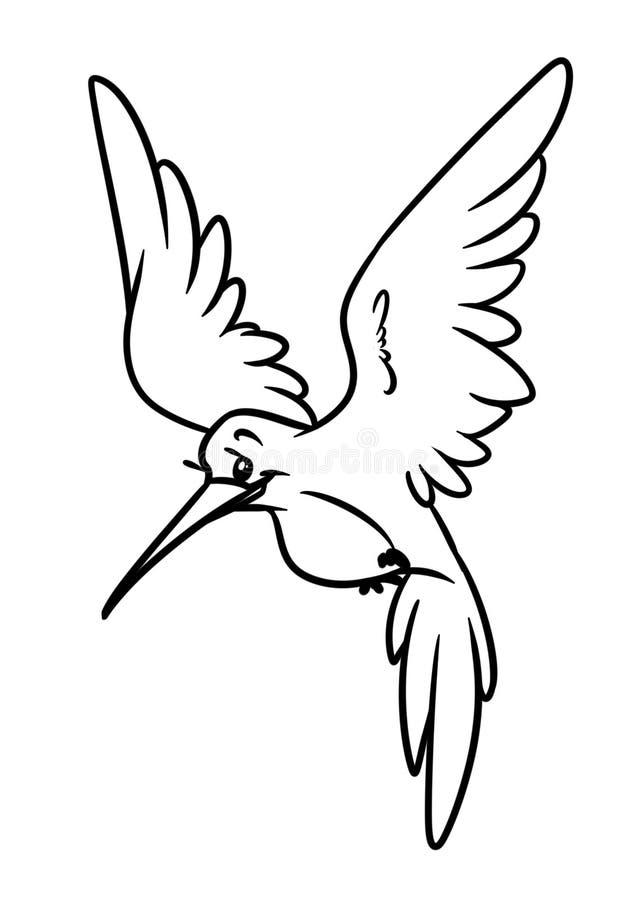 Página animal da coloração da ilustração dos desenhos animados do caráter do pássaro pequeno do colibri ilustração royalty free