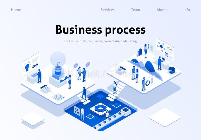 Página aperfeiçoada da aterrissagem dos trabalhos de equipe do processo de negócios ilustração royalty free
