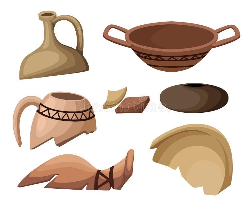A página arqueológico da site da escavação da arqueologia e do conceito da paleontologia e o app móvel projetam o elemento Histór ilustração royalty free
