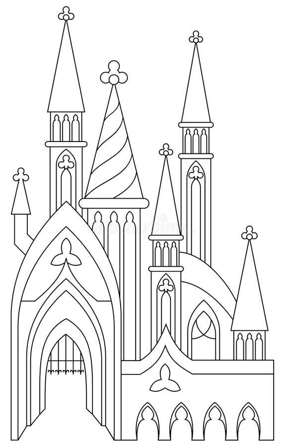 Página Blanco Y Negro Para Colorear Castillo Medieval Fantástico De ...