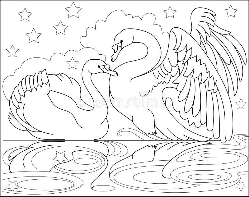 Página Blanco Y Negro Para Colorear Dibujo De Los Cisnes Hermosos De ...
