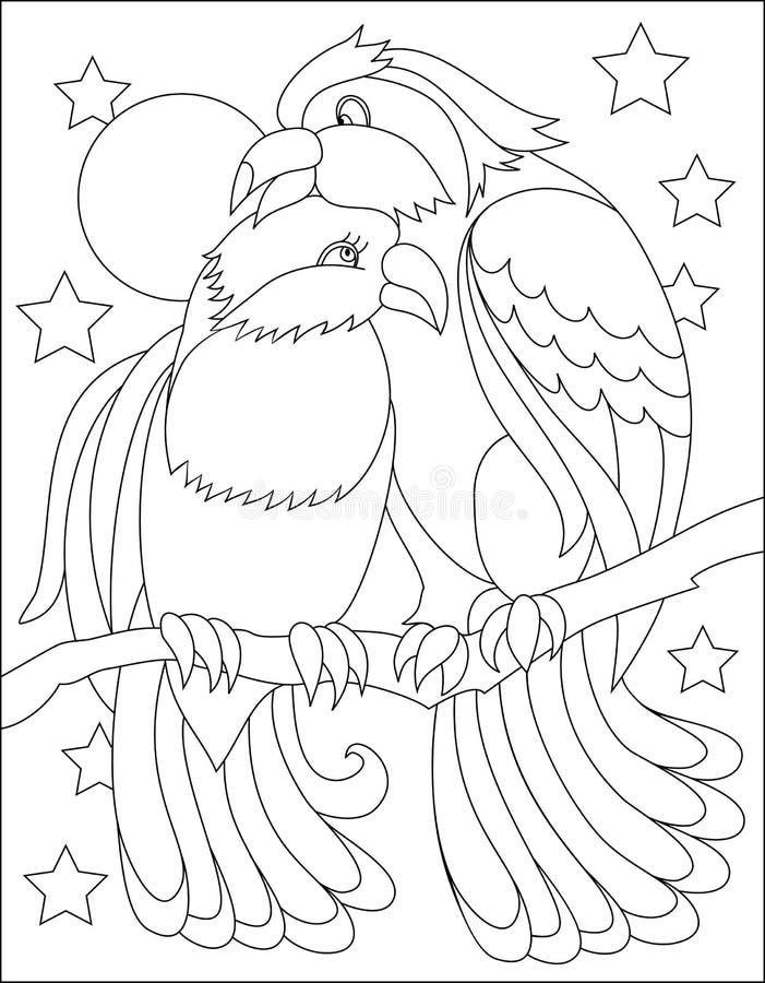 Página Blanco Y Negro Para Colorear Dibujo De Los Pequeños Pájaros ...