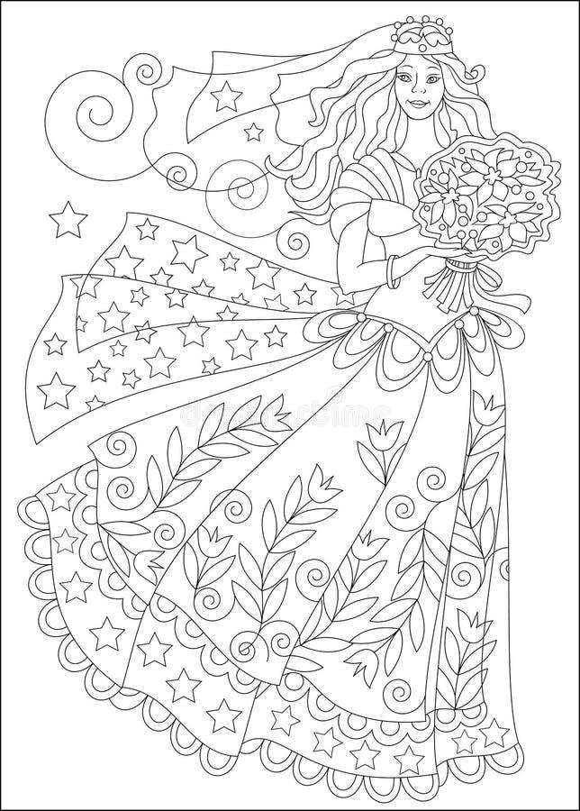Página Blanco Y Negro Para Colorear Muchacha Hermosa En Vestido De ...