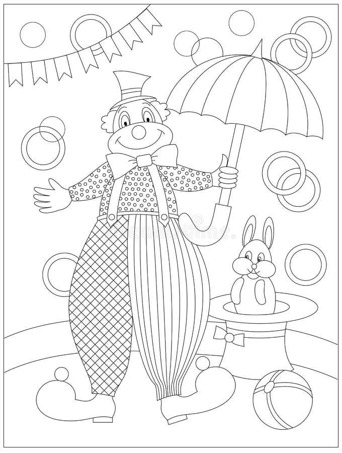 Página blanco y negro para el libro de colorear del bebé Dibujo del payaso lindo en circo Modelo imprimible para los niños stock de ilustración