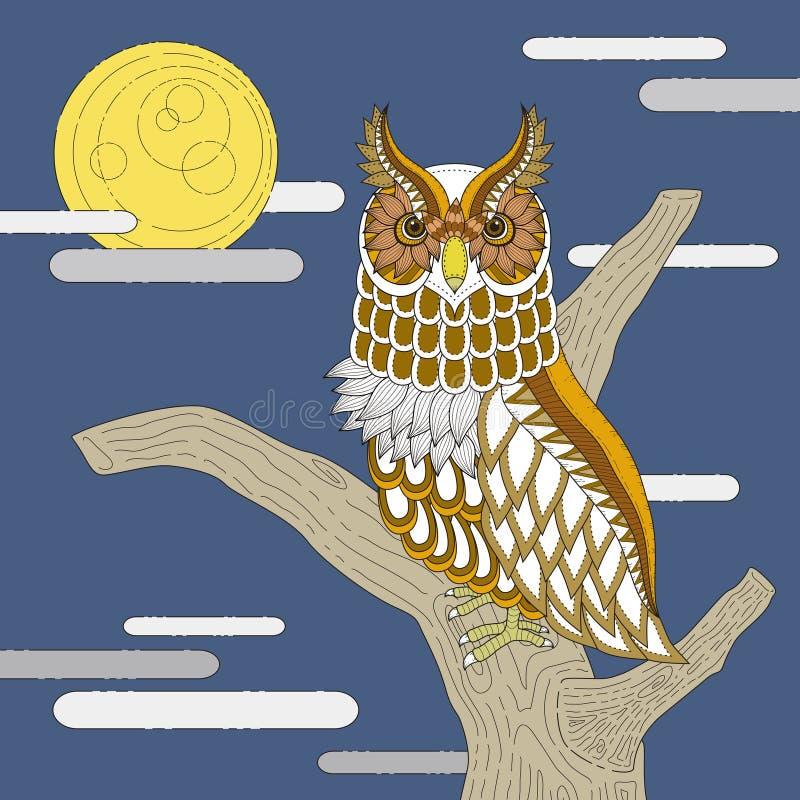 Página bonita da coloração da coruja ilustração royalty free