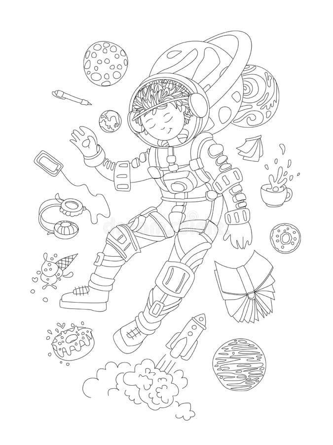 Página bonito da coloração da tração da mão com astronauta corajoso, menina do cosmonauta - menina bonito que flutua no espaço co ilustração do vetor