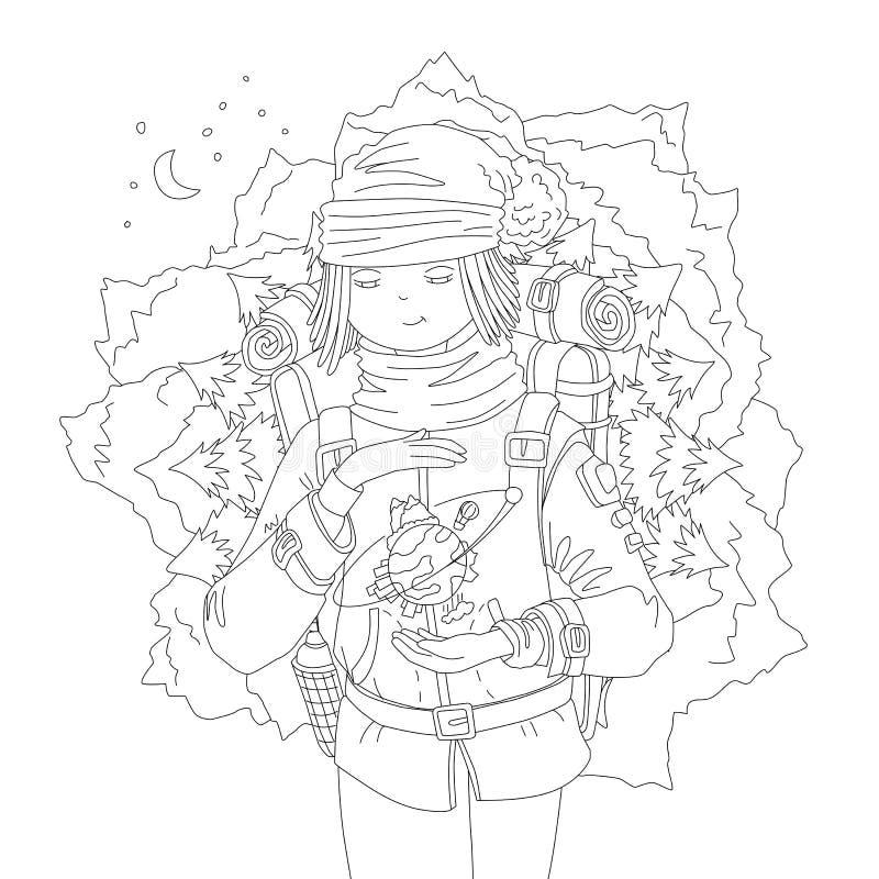Página bonito da coloração da tração da mão com a menina do andarilho com trouxa, sonhando sobre o curso da montanha, guardando a ilustração do vetor