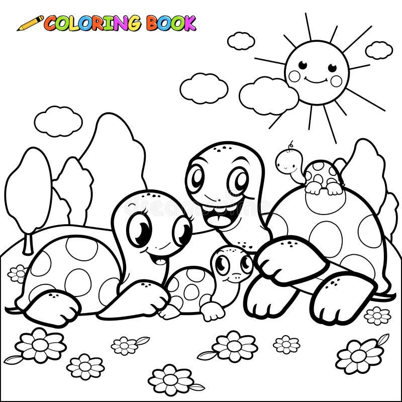 Página bonito do livro para colorir da família da tartaruga ilustração do vetor